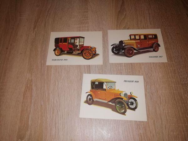 3 razglednice automobila, prazne